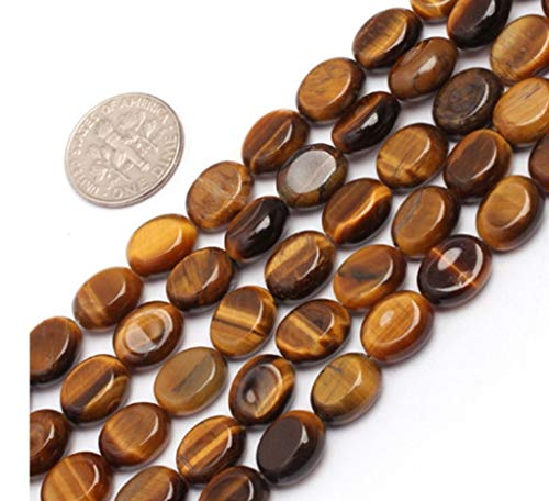 Top Quality Natural Tiger Eye Gemstone 14mm Smooth Flat Oval Loose Stone Beads for Jewelry Making 15.5