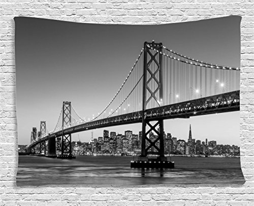 Ambesonne-Apartment-Decor-Collection-Sun-Setting-View-Of-San-Francisco-Bay-Bridge-California-Usa-Tourist-Attraction-Bedroom-Living-Room-Dorm-Wall-Hanging-Tapestry-80W-X-60L-Inch
