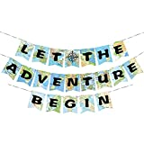 WERNNSAI Bon Voyage Party Decorations - World Map Pennant Let The Adventure Begin Bunting Banner for Birthday Baby Shower Graduation Retirement Travel Themed Party Supplies