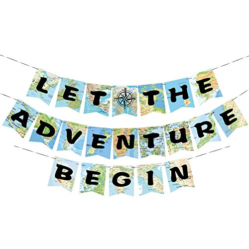 WERNNSAI Bon Voyage Party Decorations - World Map Pennant Let The Adventure Begin Bunting Banner for Retirement Graduation Travel Themed Party Co-worker Moving Away Baby Shower Birthday Party Supplies]()