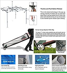 Eurmax New 10x15 Ft Premium Ez Pop up Canopy Instant Shelter Outdoor Party Tent Gazebo Commercial Grade Bonus Roller Bag