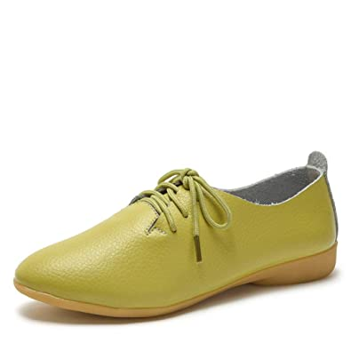 f7b5bd7f1 Amazon.com | Women Flexible Sneakers Soft Leather Upper Four Seasons  Classical Lace Up Low Heel Lightweight Casual Flats Oxford Loafers | Oxfords