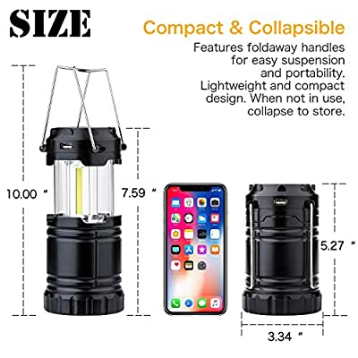 4 Pack Solar USB Rechargeable 3 AA Power Brightest COB LED Camping Lantern with Magnetic Base, Charging for Android, Waterproof Collapsible Emergency LED Light?2018 UPGRADED?