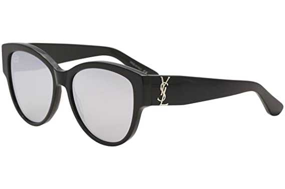 1e81c4e6a9 Amazon.com  Saint Laurent M 3 SL M 003 BLACK SILVER BLACK Sunglasses   Clothing