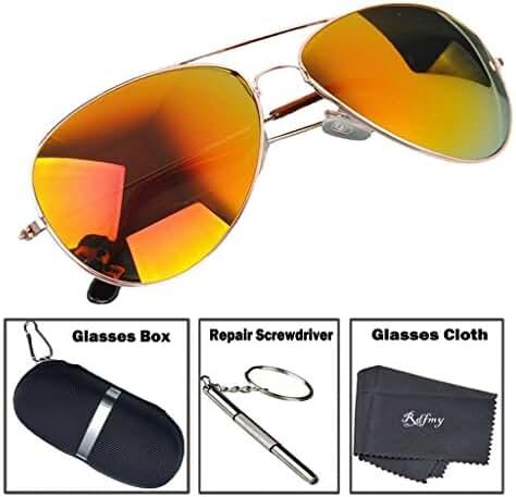 Rdfmy Classic Aviator Sunglasses for women / Men Eyeglasses Gold Frame - UV 400