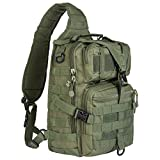 Hikingworld 20L Small Tactical MOLLE Sling Pack – Compact and Versatile – Shoulder Pack, Backpack, Chest Pack, or Hand Carry – Military Assault Style Rucksack. (Green)