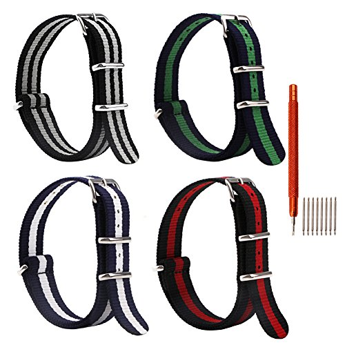 4pc 20mm Nato Nylon Striped Black/Red,Black/Grey,blue/green,blue/white Replacement Watch Strap Band