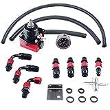 Dewhel Universal JDM Aluminum Billet Fuel Pressure Regulator Gauge PSI Oil Line AN6 Fittings Color Black