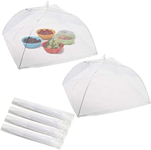 STONCEL 6Pcs Pop-Up Mesh Food Covers Net Umbrella, Reusable Collapsible Large Food Protector Tent for Outdoor Party Picnic BBQ to Keep Flies, Bugs, Mosquitoe Out (17.5inches,White)