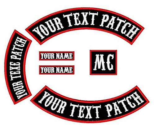 6 Pack Custom Embroidered MC Biker Patches, Personalized Embroidery Rocker Patch Rider Motorcycle Patches Back Name Patch Appliqued/Iron-on/Sew-on Veterans Jacket (2PCS)
