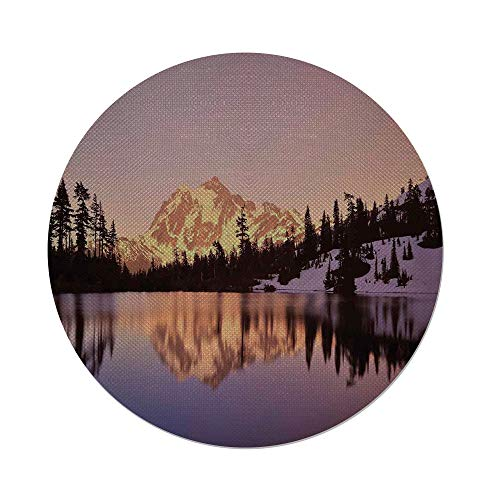 - iPrint Cotton Linen Round Tablecloth,Lake House Decor,Snow Capped Mt Shuksan and Lake at Sunset Evening View National Forest Washington,Yellow Purple,Dining Room Kitchen Table Cloth Cover