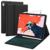 iPad Pro 11 Keyboard Case 2018 - Detachable Wireless Keyboard - 7 Color Backlit - Slim Anti-Scratch - PU Leather with Pencil Holder- iPad Pro 11 inch Case Keyboard - Support Apple Pencil Charging