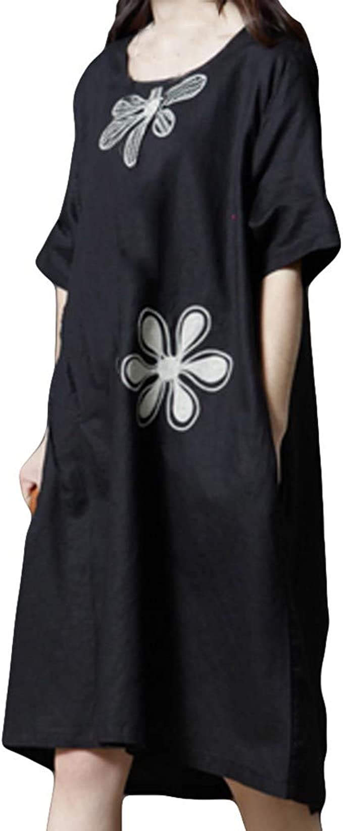 Suma-ma Womens O-Neck Dots Printed Dresses Fashion Casual Long Sleeve Pockets Party Dress With Belt