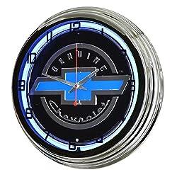 17 Blue Neon Wall Clock, Chevrolet Genuine Chevy Bowtie Logo