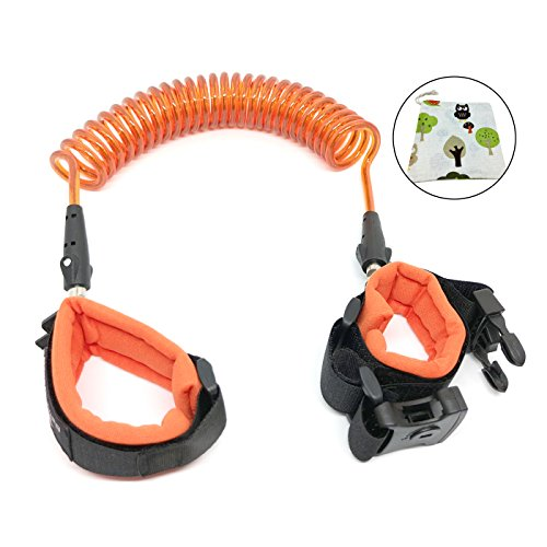 Anti Lost Wrist Link, Child Anti-Lost Safety Harness Link with Key 8.2ft for Kids & Toddler (Orange) Bonus 10 pcs of Bamboo Straws