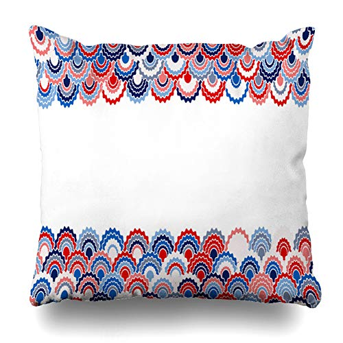 - Ahawoso Throw Pillow Cover Patriotic Blue 4Th Solemn American Ribbons Bunting Holidays Lined Pink Colors Badge Border Cell Curve Home Decor Pillowcase Square Size 16 x 16 Inches Zippered Cushion Case
