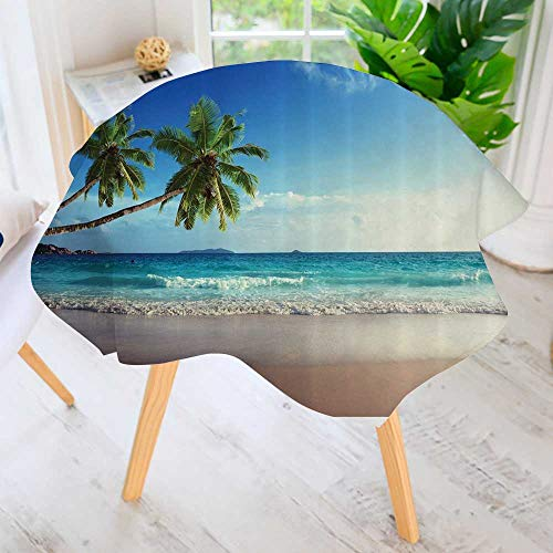 """Philiphome Indoor/Outdoor Tablecloth-Tropical Island ery Wave ACH amp Photos The Ctemporary Art Available in Many Different Sizes and Colorways 50"""" Round"""