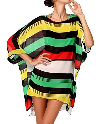 Chiffon Blouse Cover ups for Bikini,Striped Beachwear Cheap for Women
