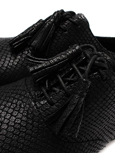 FitFlop Classic Tassel Superoxford - Black Leather Snake