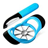 LEMCASE Apple Slicer Cutter Corer and Peeler for Fruit Vegetable - Silicone Handle and Stainless Steel Blades | Blue (2 Pieces Set)