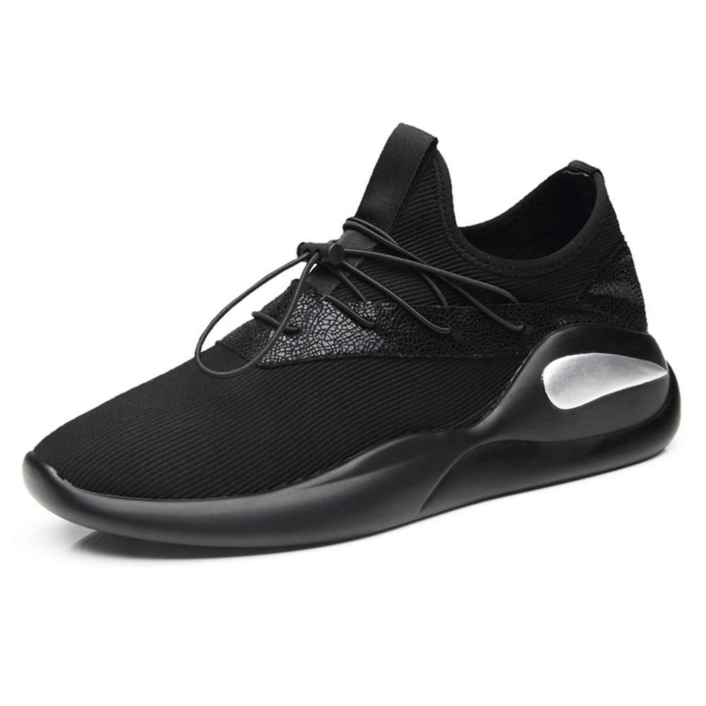 Qiusa Atmungsaktive Laufschuhe für Männer weiche Sohle versteckte Ferse beiläufige dauerhafte Schuhe (Farbe   Schwarz, Größe   EU 39)