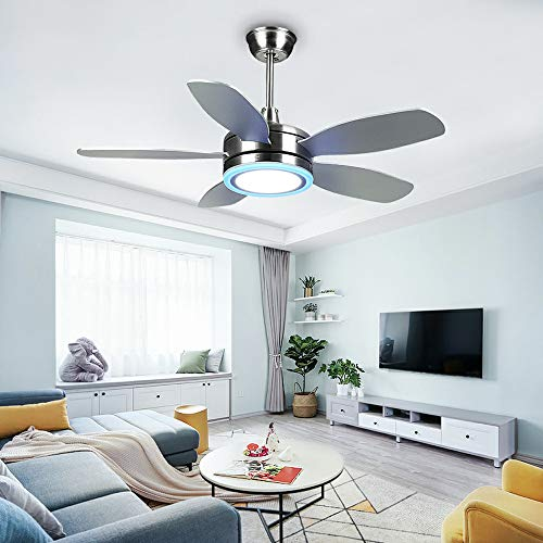 Tropicalfan Modern LED Ceiling Fan with Remote Control One Light Cover Home Indoor Fans Chandelier 5 Reversible Blades 42 Inch