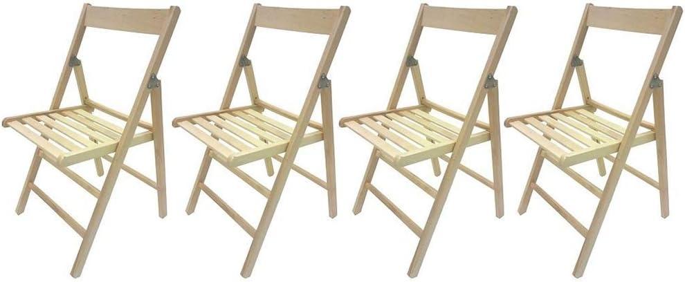 MW Italia 4 chaises pliantes confortables en bois de hêtre pour camping, maison, jardin Couleur naturelle.