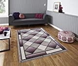 All New Modern Contemporary Geometric Carved Diamond Design Area Rug Embassy Collection by Rug Deal Plus (6' x 9', Grey/Purple)