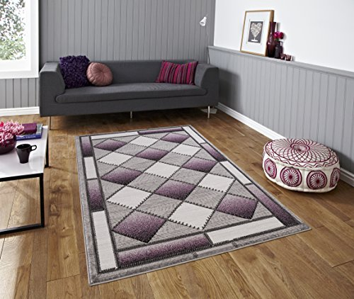 All New Modern Contemporary Geometric Carved Diamond Design Area Rug Embassy Collection by Rug Deal Plus (6' x 9', Grey/Purple) by Rug Deal Plus