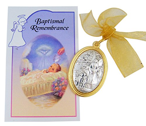 Oval Crib Set - Oval Guardian Angel Crib Medal with Baptismal Remembrance Certificate Card Gift Set