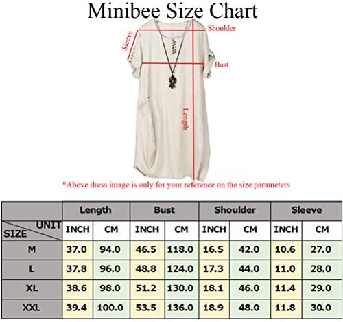 Mordenmiss Women's Cotton Linen Dresses Plus Size Summer Roll up Sleeve Baggy Sundress with Pockets