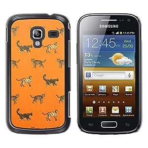Gatito Casa Gato Naranja Modelo lindo - Metal de aluminio y de plástico duro Caja del teléfono - Negro - Samsung Galaxy Ace 2