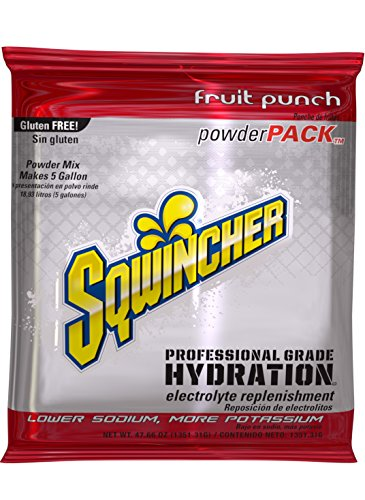 (Sqwincher Powder Concentrate Electrolyte Replacement Beverage Mix, Fruit Punch 016405-FP (Case of 16), 47.66 Oz each (5 gal when water mixed))