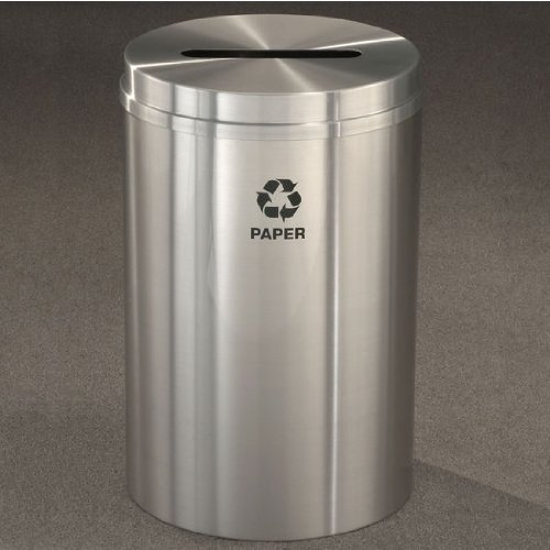 Glaro RecyclePro I, 12 Gallon, 12 inch W, 2.5 inch x9.5 inch slot, Paper message w/ Recycling Logo, Hunter Green Finish, Satin Brass Top, Shown in Satin Aluminum