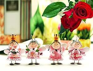 Darling Juego de 4pintada a mano rosa Metal figuras de hada (todos en diferentes poses