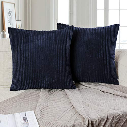 Ashler Pack of 2 Corduroy Soft Velvet Striped Solid Square Throw Pillow Covers Cushion Cases 18 x 18 inch Navy Blue