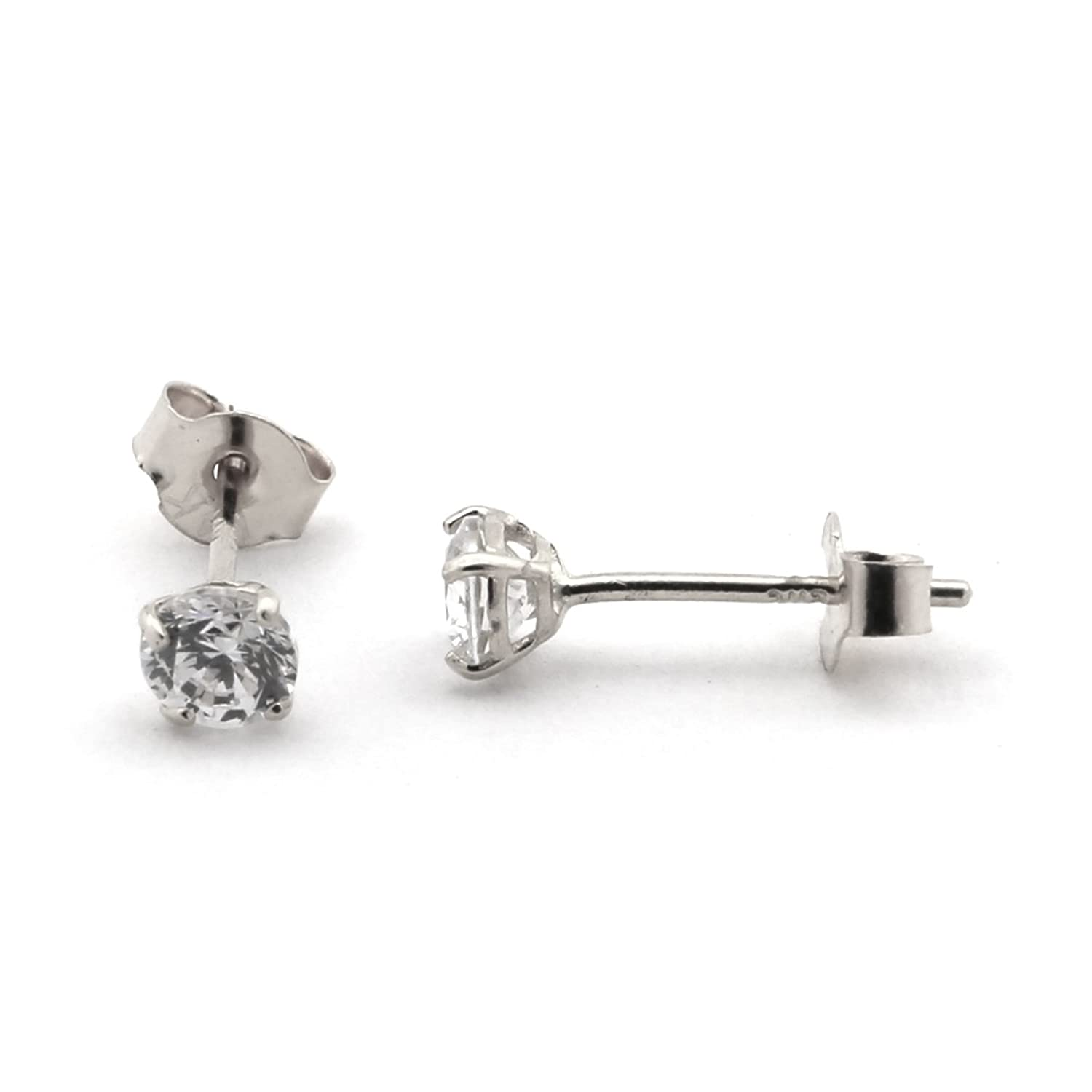 Solid 14k Yellow or White Gold Basket Set Round Cubic Zirconia Stud Earrings