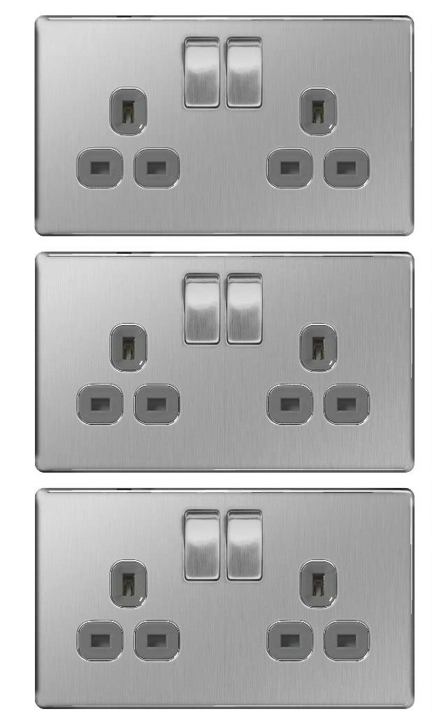 Brushed Steel Pack of 3 x BG FBS22G Screwless Flatplate 2 Gang Switched Sockets 13 Amp