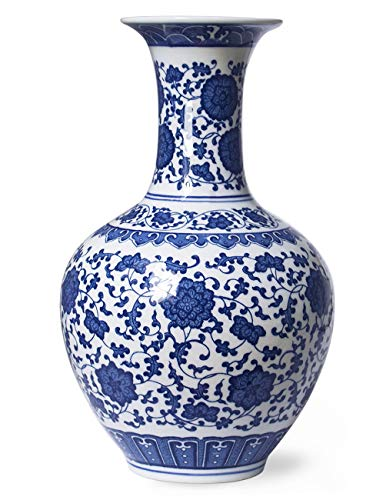 (Dahlia Ancient Lotus Motif Blue and White Porcelain Flower Vase, 13 Inches, Chinese Bottle Vase)