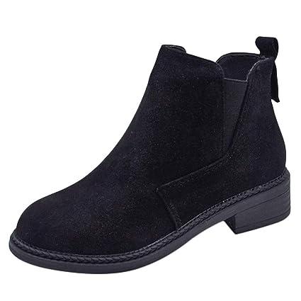 Btruely Zapatos de Mujer❤ Zapatos Moda para Mujer de Coser rebaño Corto Botines Fuera