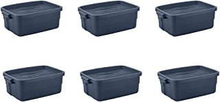 product image for Rubbermaid Roughneck 10 Gallon Rugged Storage Tote, Dark Indigo Metallic (6 Pack)