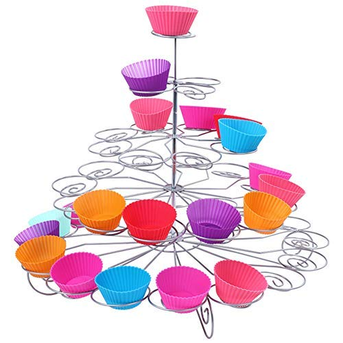 Resulzon 4 Tiers 23 Cupcakes Mini Cute Sturdy Reusable Dessert Tower Tree Cupcake Display Stand Holders For Wedding Baby Shower Parties -