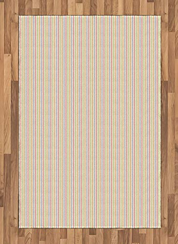 (Pinstripe Area Rug, Vertically Aligned Crayon Stroked Style Pastel Colored Crooked Parallel Lines, Non Slip Rug Pad 4' x 5.7' Rectangle, Safe for Hardwood Floors and All Surfaces)