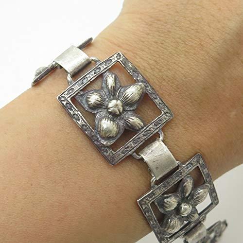 Coro Craft VTG 925 Sterling Silver Floral Link Bracelet 7.5