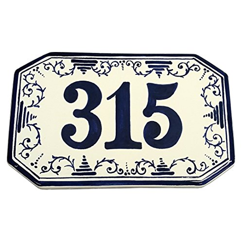 CERAMICHE D'ARTE PARRINI - Italian Ceramic Art Pottery Tile Custom House Number Civic Address Plaques Hand Painted Made in ITALY (Ceramic House Number Tile)