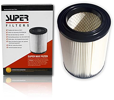 Super Max Wet Dry Vacuum Air Cartridge Filter Pleated 3 layer - Designed for RIDGID 5 gallon and up & CRAFTSMAN Red Stripe replacement. EASY HASSLE FREE Cleaning of ASH, SAW DUST, GLASS, DUST, - Super Pro Pack
