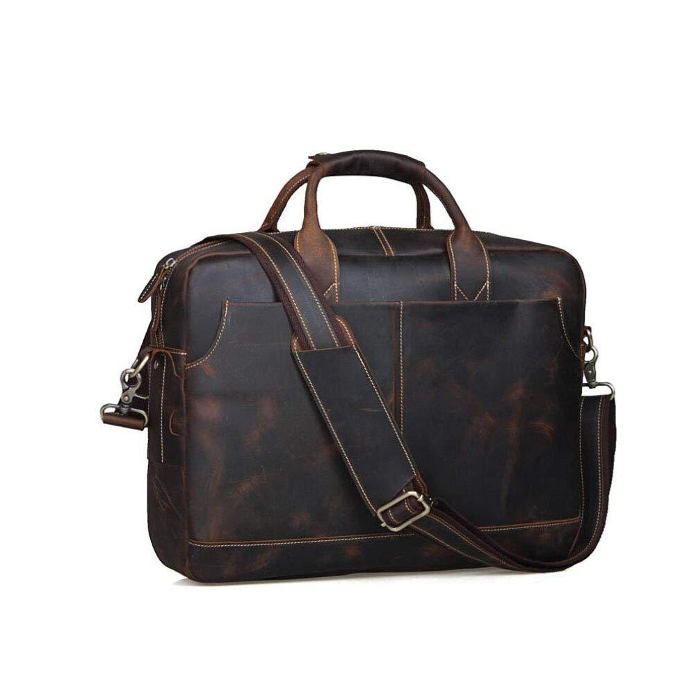 Mens Messenger Bag Computer Briefcase Notebook Vintage Satchel Bags Mens Waterproof 15.6 Crazy Horse Skin Laptop School Work Brown