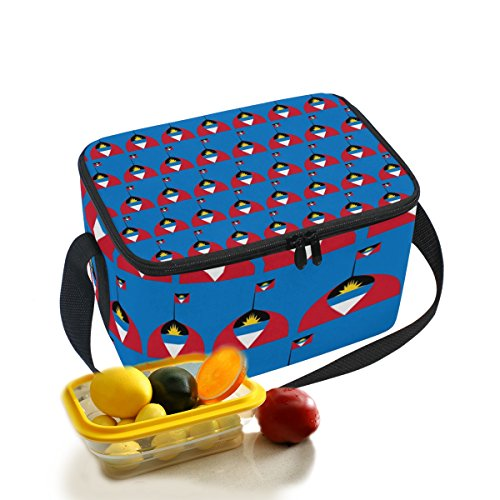 Antigua And Barbuda Logo Flag Insulated Lunch Box Insulated Lunch Bag Large Cooler Tote Bag For Men and Women Kids Girls Boys With Shoulder Strap