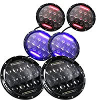 7 Inch 75W Led Headlight For Motorcycle or Jeep Red/Blue/White DRL