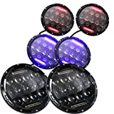 Red Blue or White 7 Inch 75W LED DRL Headlights for Jeep Wrangler